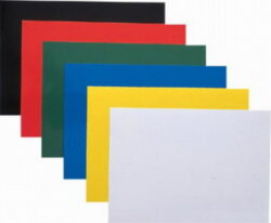 Desky pro krouž. vazbu A4 chromolux,červené-Kartonové desky, z jedné strany barevný leštěný povrch. Druhá strana bílá matná, 220 g/m2.