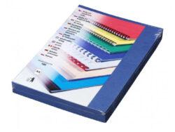 Desky pro krouž.vazbu A4 im.kůže,modré tm.-Kartonové desky, z jedné strany ražba imitace kůže. Druhá strana hladká matná v barvě desek, 250 g/m2.