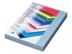 Desky pro krouž.vazbu A4 im.kůže,modré sv.-Kartonové desky, z jedné strany ražba imitace kůže. Druhá strana hladká matná v barvě desek, 250 g/m2.